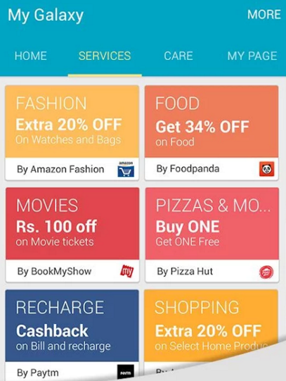 my galaxy app offers - Get 30% cashback Paytm coupons, Free BookMyShow Rs100 winpin and many more from My Galaxy app