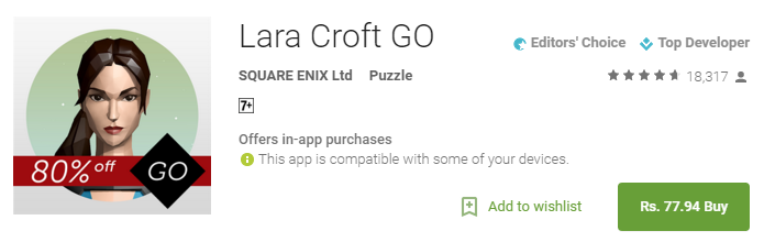 Lara Croft GO 80 Off – Android Apps on Google Play - [Cheapest Ever- 80% Off] Lara Croft GO for Rs 77.94 only