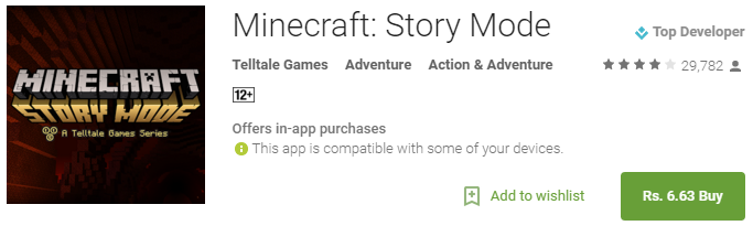 Minecraft Story Mode – Android Apps on Google Play 95 off - [Cheapest Ever 95% Off] Minecraft: Story Mode for Rs. 6.63 only (from Rs. 319.61) & the Minecraft Holiday Skin Pack for Rs. 33.14 (from Rs. 114.02)