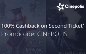 100% cashback on 2nd ticket at cinepolis by paytm