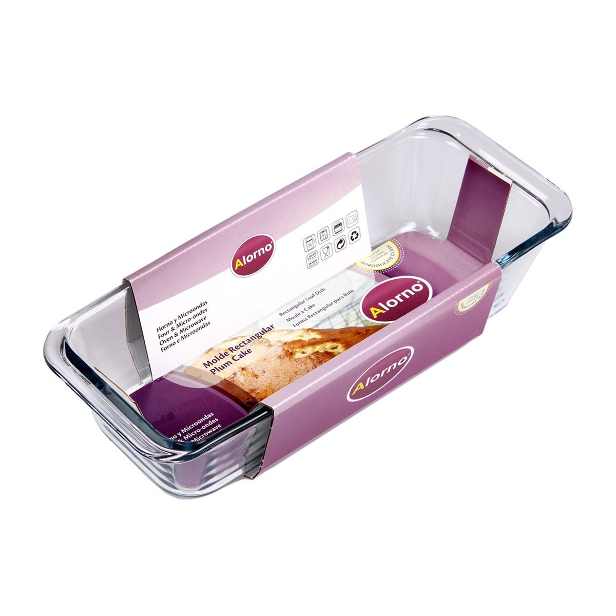 Get 44% off on Alorno Borosilicate Glass, Rectangular Loaf Plum Cake Dish, 1.3 Ltr