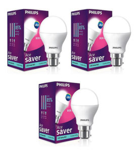 Philips White 9W LED Bulb - Set of 3 for Rs 456 Only