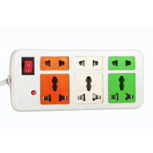 Coloured Power Strip Extension Cord 3 + 3