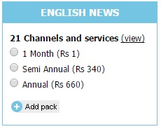 English News Pack at ₹1 for 30 days Tatasky - Tata Sky English News Pack with 23 Channels for Rs 1 only.