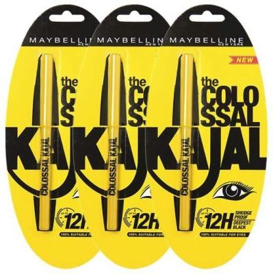 Maybelline Colossal Kajal Black (pack of 3) 1.5 g for Rs 270 (53% off)