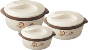 Nayasa Floriana Small Plastic Casserole Set, 3-Pieces, Brown