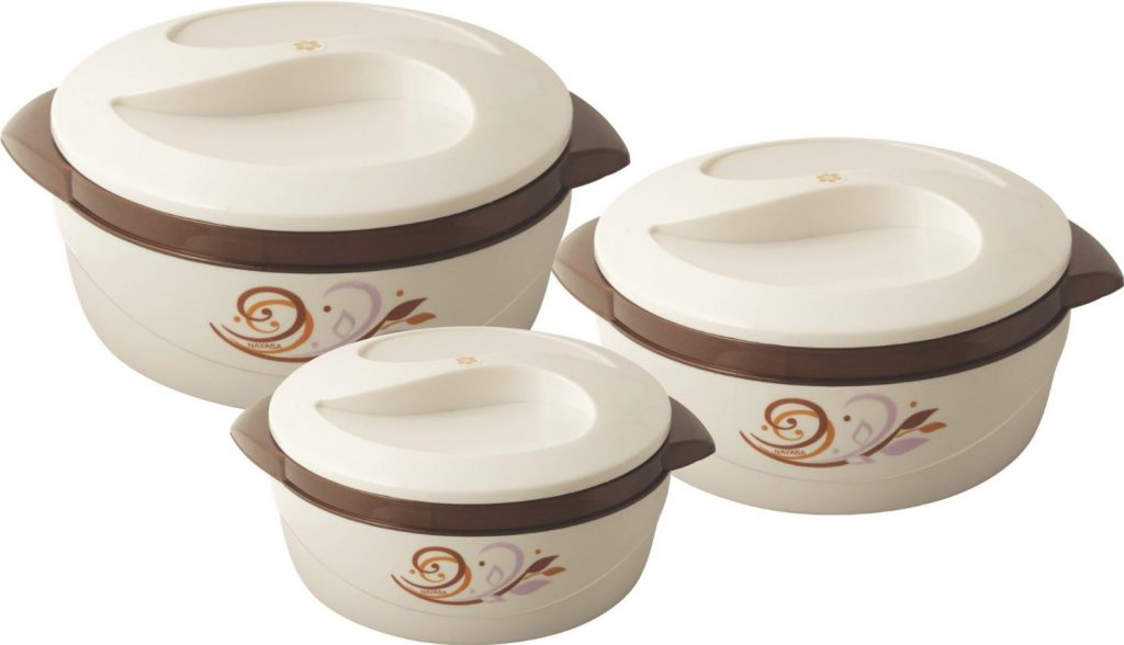 Nayasa Floriana Small Plastic Casserole Set, 3-Pieces, Brown for Rs 513 (52% off)