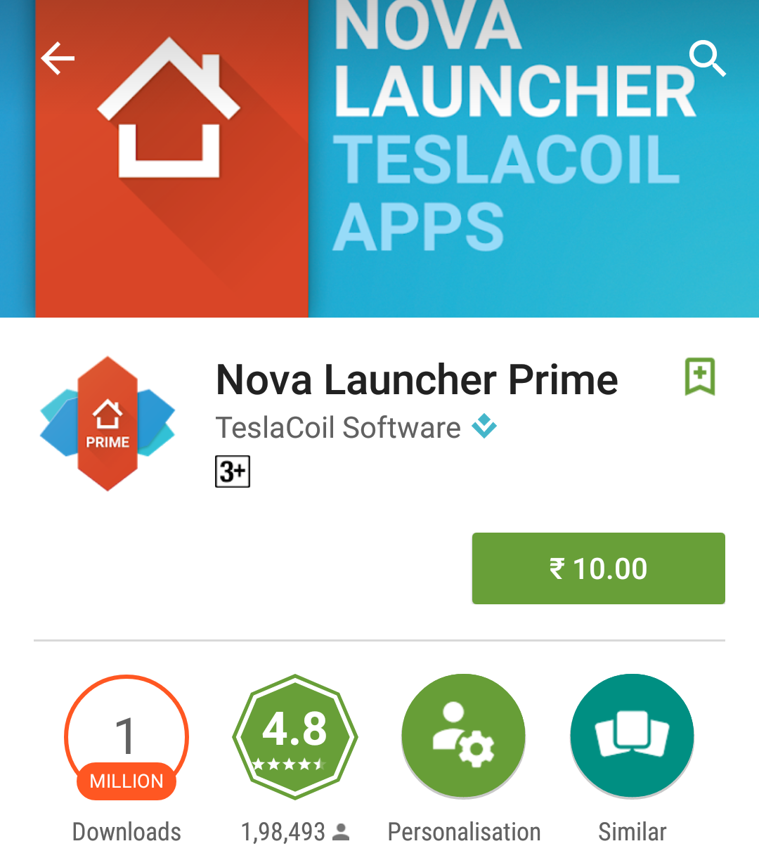 Nova Launcher Prime for Rs 10 Only (Cheapest Ever)