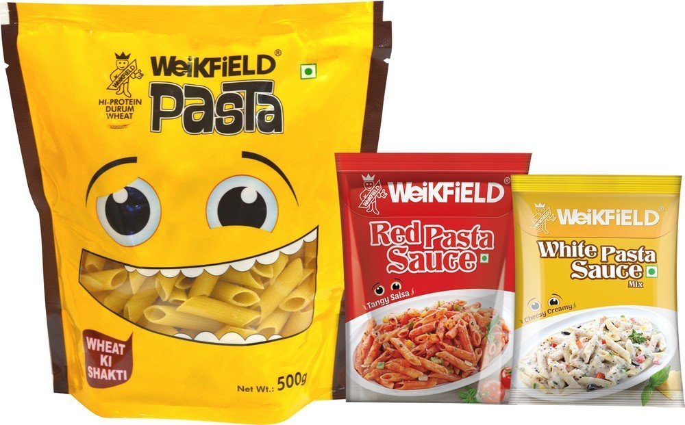 Weikfield Penne Pasta, 500g (Free Red Pasta sauce & white pasta sauce) at Rs99 (43% off)