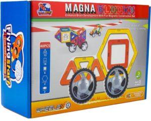 FLYING START Magna Blocks 40 pcs Wheels Magnetic Building Kit