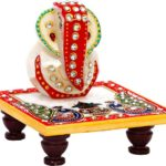 JaipurCrafts Designer Lord Ganesha Chowki (4 Inches)