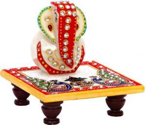 JaipurCrafts Designer Lord Ganesha Chowki (4 Inches)