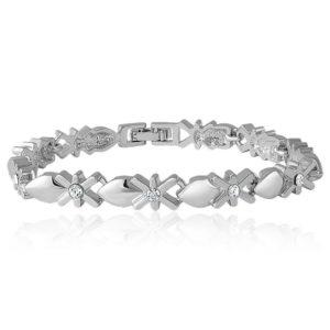 Mahi Rhodium Plated Mesmerizing Bracelet with Crystal for Women