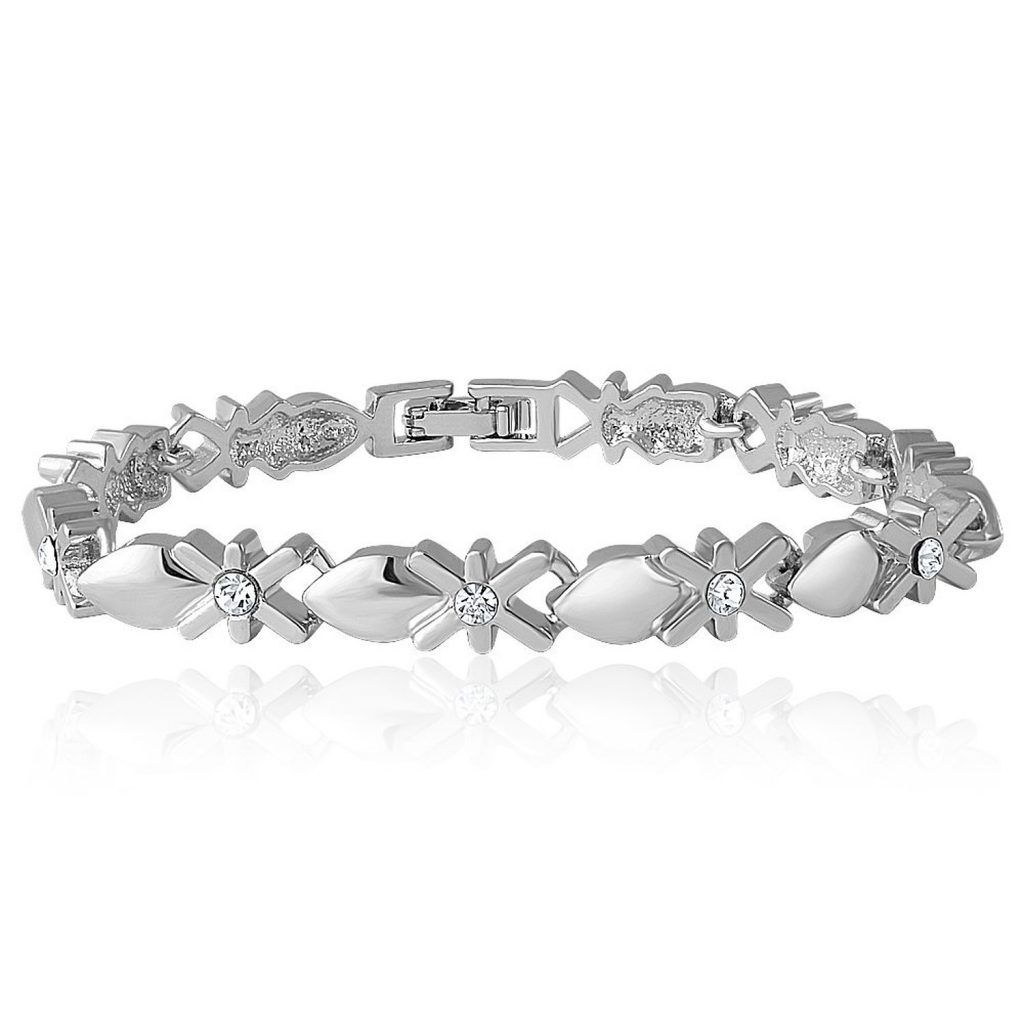 Mahi Rhodium Plated Mesmerizing Bracelet with Crystal for Women for Rs 259 (57% off)