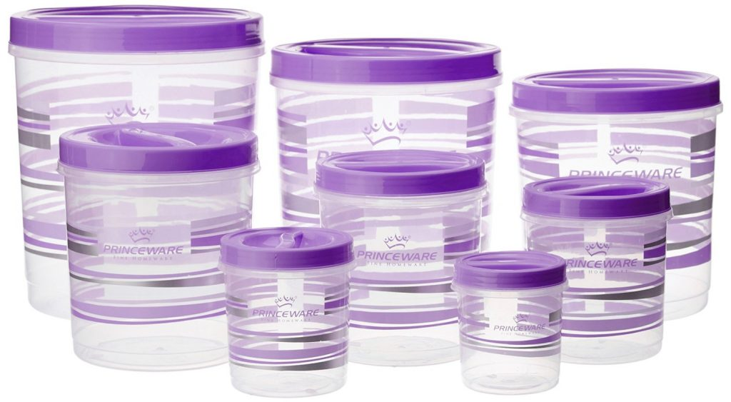 Princeware Twister Plastic Package Container Set, 8-Pieces, Violet for Rs 499 (50% off)