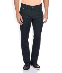 Raymond Black Solid Flat Front Trousers