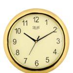 Solar Round Plastic Wall Clock (26 cm x 26 cm x 3 cm, Gold)