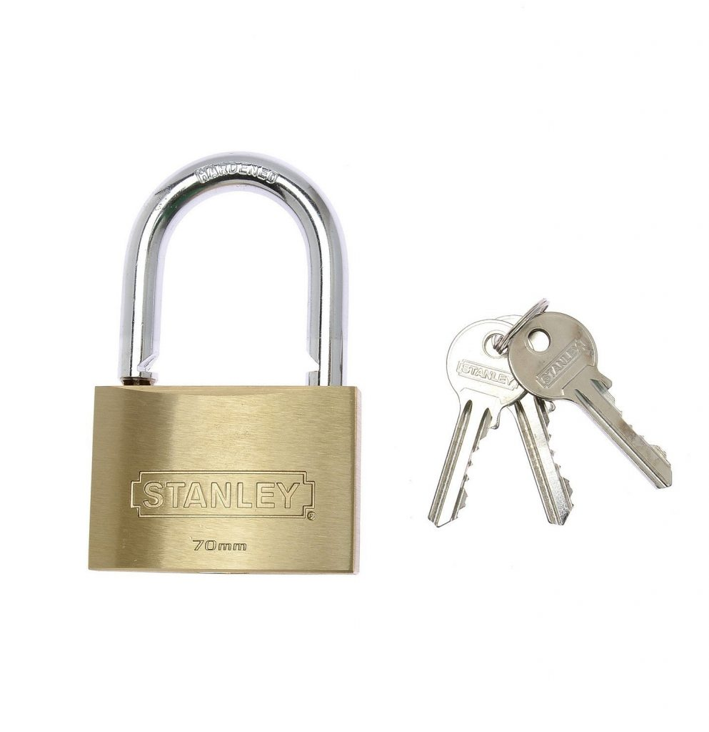 Stanley Solid Brass Standard Shackle Padlock – 70mm for Rs 763 (30% off)