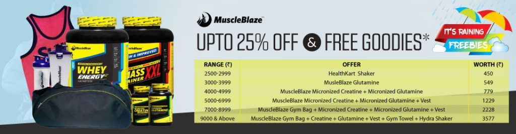 Up to 25% Off and Free Goodies on Purchase of MuscleBlaze Products