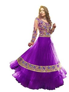Vibes Women Georgette Salwar Suit Dress Material (V156-1003 _Purple _Free Size)