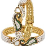 YouBella Dancing Peacock American Diamond Gold Plated Bangles For Women