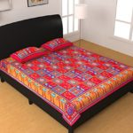 jiya Decor 100% Cotton Double Bed Sheet With 2 Pillow Cover(HRT1020)