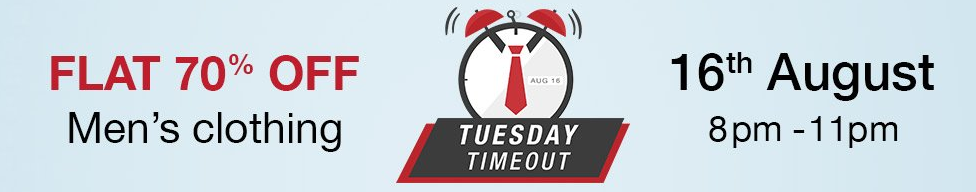 Get Flat 70% Off on Men's Clothing – Amazon Tuesday Timeout (8 PM to 11 PM)