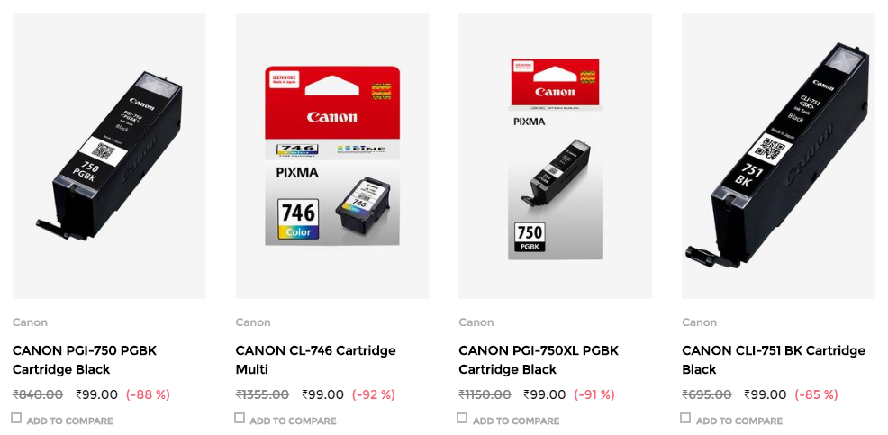 HP CANON Cartridges for Rs.99 92 Off at TataCLiQ - HP & CANON Cartridges for Rs.99 (92% Off) at TataCLiQ