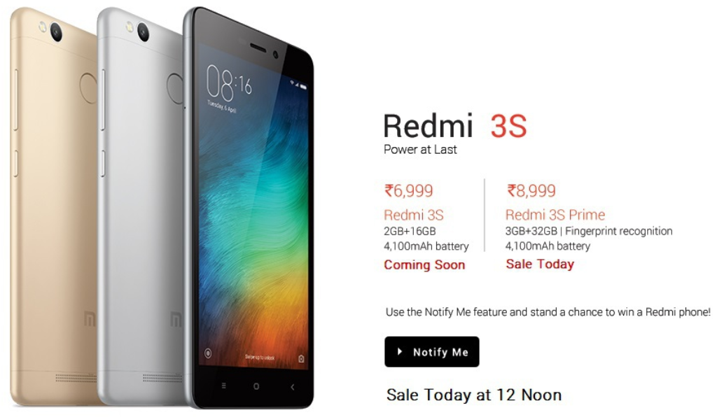 Redmi 3s Prime on Open Sale at 12PM for Rs 8999 at FlipKart 1024x596 - Redmi 3S and Redmi 3S Prime on Open Sale at 12PM for Rs 6999 at FlipKart
