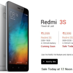 Redmi 3s Prime on Open Sale at 12PM for Rs 8999 at FlipKart