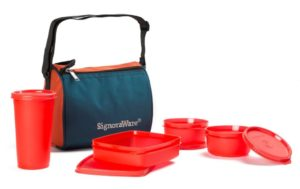 Signoraware Best Sapphire Plastic Lunch Box Set with Bag, 4-Pieces, Red