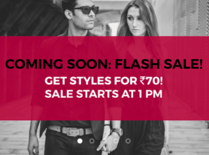 Get Fashion Products for just Rs 70 - Tata CLiQ Flash Sale For Two Hours