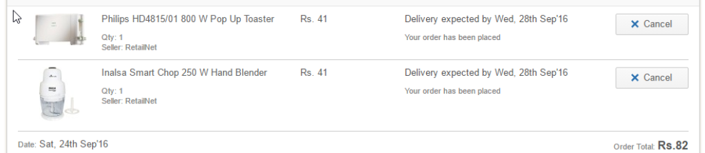 Kitchen Appliances for Rs 1 at Flipkart Proof of Purchase .png