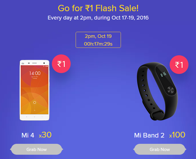 Mi4 and Mi Band 2 For Re 1 in Mi Diwali Flash Sale