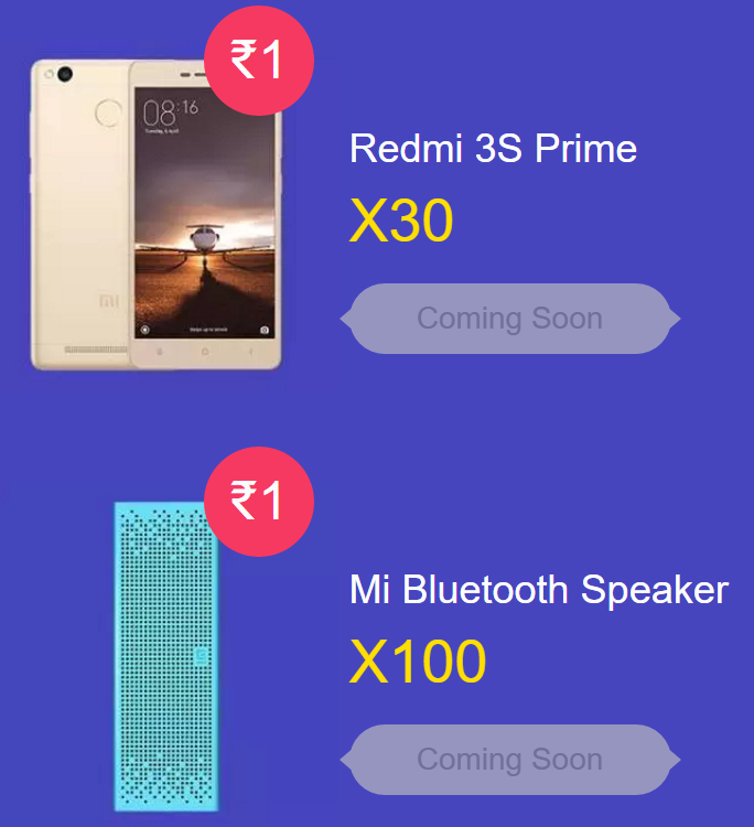 Redmi 3S Prime and Mi Bluetooth Speaker For Re 1 in Mi Diwali Flash Sale