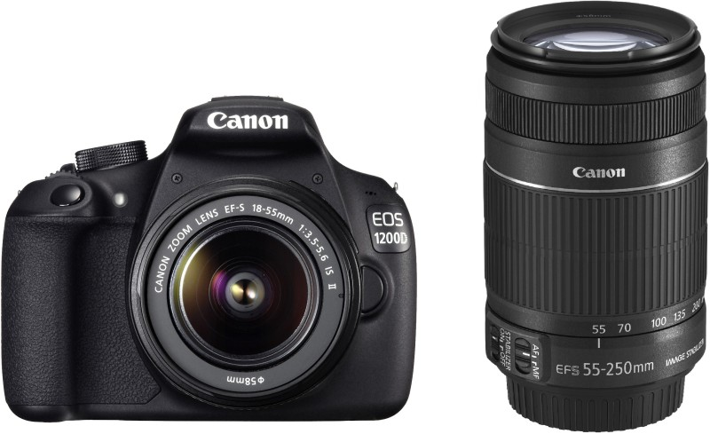 Canon EOS 1200D (Kit with 8 GB Card & Bag EF S18-55 IS II+55-250mm IS II) DSLR Camera for Rs 19990