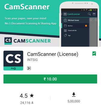 CamScanner (License) for Rs 10 Only (96% off)