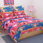 WI International Microfiber Double 3D Printed Bedsheet (1 Bedsheet With 2 Pillow Covers, Pink)