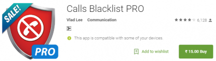 Calls Blacklist PRO for Rs 15 Only Loot Deal on Google Play Store