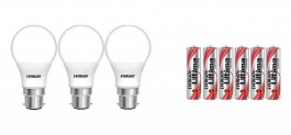 Eveready Base B22D 9-Watt LED Bulb (Pack of 3, Cool Day Light) with Free 6 AAA Alkaline Batteries for Rs 379(72% off)