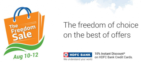 Flipkart Freedom Sale (10-12 August) Huge Discounts and 10% More Discount with HDFC Cards