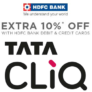 Get 10% cashback on Tata CliQ via HDFC bank Credit or Debit Cards (No min purchase)