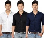 Top Notch Men's Solid Casual White, Black, Dark Blue Shirt for Rs 388 (87% off)