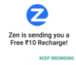 FREE Recharge Worth Rs 10 just by Installing Zen Browser