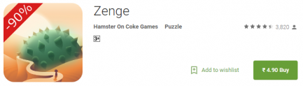 Zenge peculiar puzzle game for Rs 5 Only (90% OFF) at Google Play Store